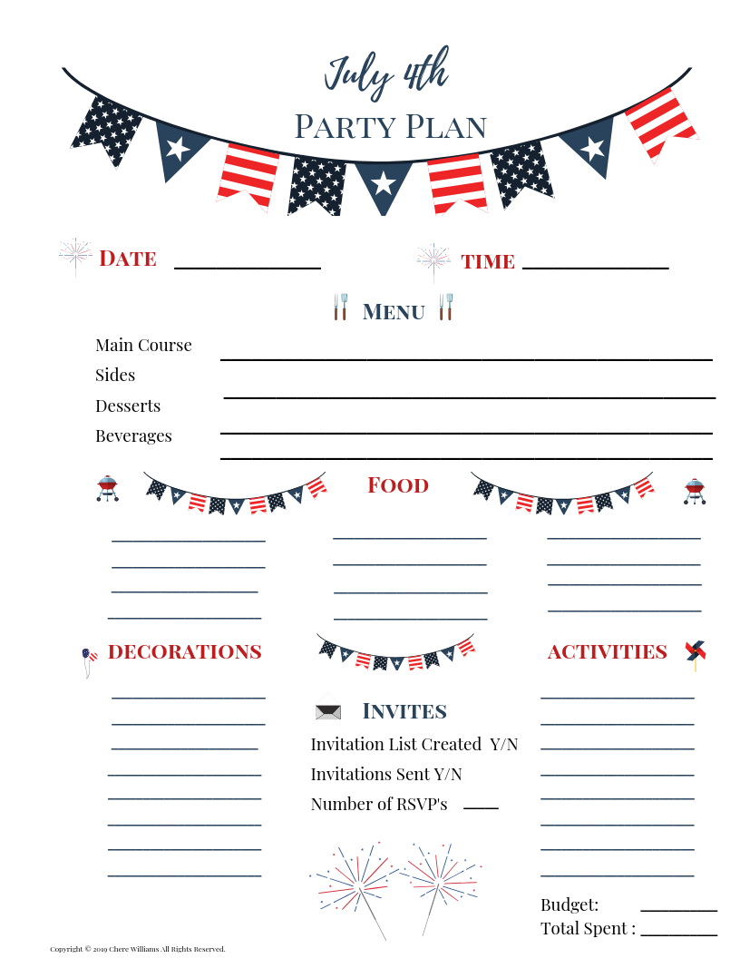 July 4th Party Planner