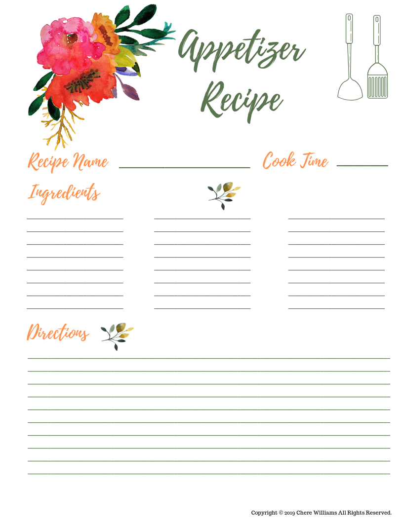Appetizer Recipe Cards for Moms