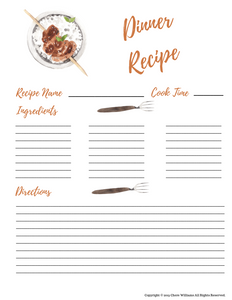 Printable Dinner Recipe Cards for Moms