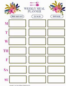 Weekly Meal Plan Floral Collection