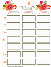 Load image into Gallery viewer, Weekly Meal Planner Printable for Moms