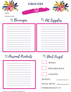 Grocery Haul Printable for Busy Moms and Homemakers