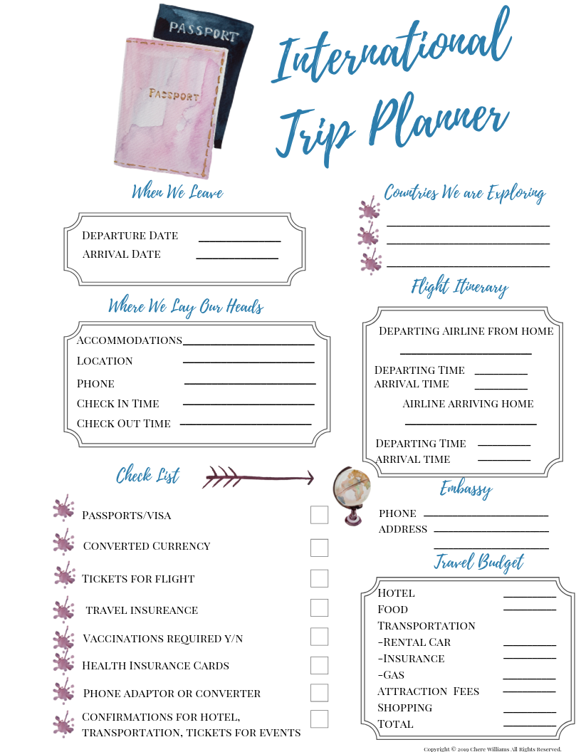International Trip Planner Passport Version