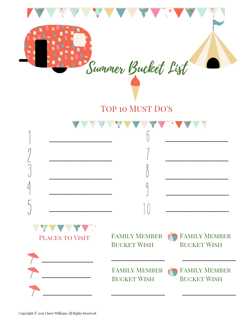 Summer Fun For Kids! Summer Bucket List Printable