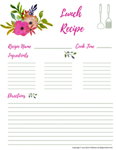 Lunch Recipe Card Floral Pattern