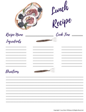 Load image into Gallery viewer, Lunch Recipe Printable Cards for Moms