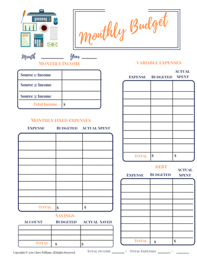 Monthly Budget for Fixed and Variable Expenses, Debt and Savings Printable