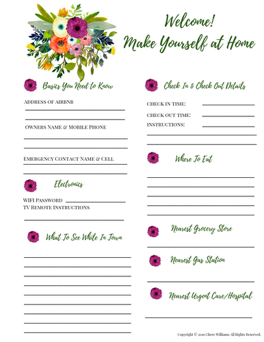 Airbnb Welcome Printable For Guests