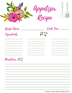 Appetizer Recipe Card Printables for Moms