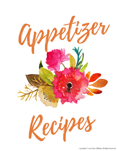 Appetizer Recipe Card Dividers for Kitchen Binders