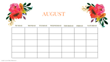 Load image into Gallery viewer, August  Calendar