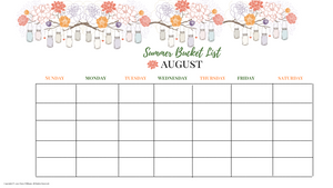 Summer Bucket Monthly Calendar List Mason Jar Version