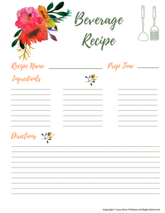 Beverage Recipe Cards for Moms