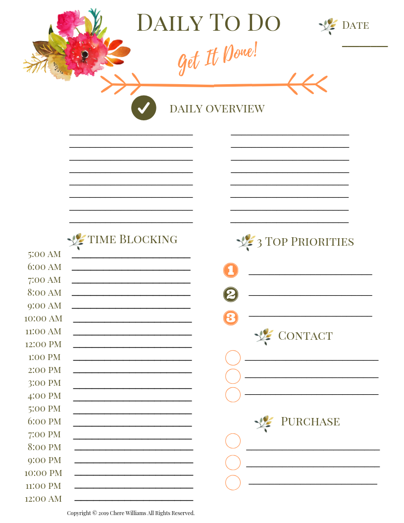 Daily To Do List with Time Block Printable List