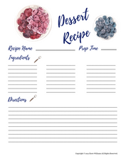Load image into Gallery viewer, Printable Dessert Recipe Cards for Moms