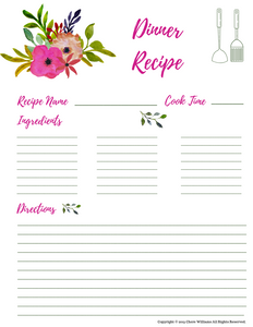 Dinner Recipe Cards for Moms