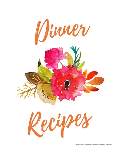 Dinner Recipe Card Divider Orange Blossom Collection