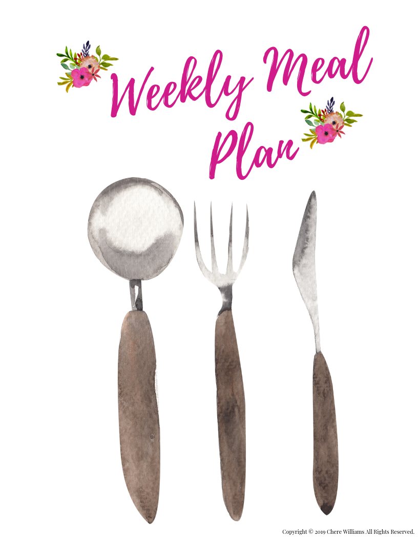 Weekly Meal Plan Divider Printable for Kitchen Binder Floral Design