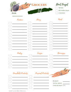 Grocery Shopping List Printable for Moms Garden Collection