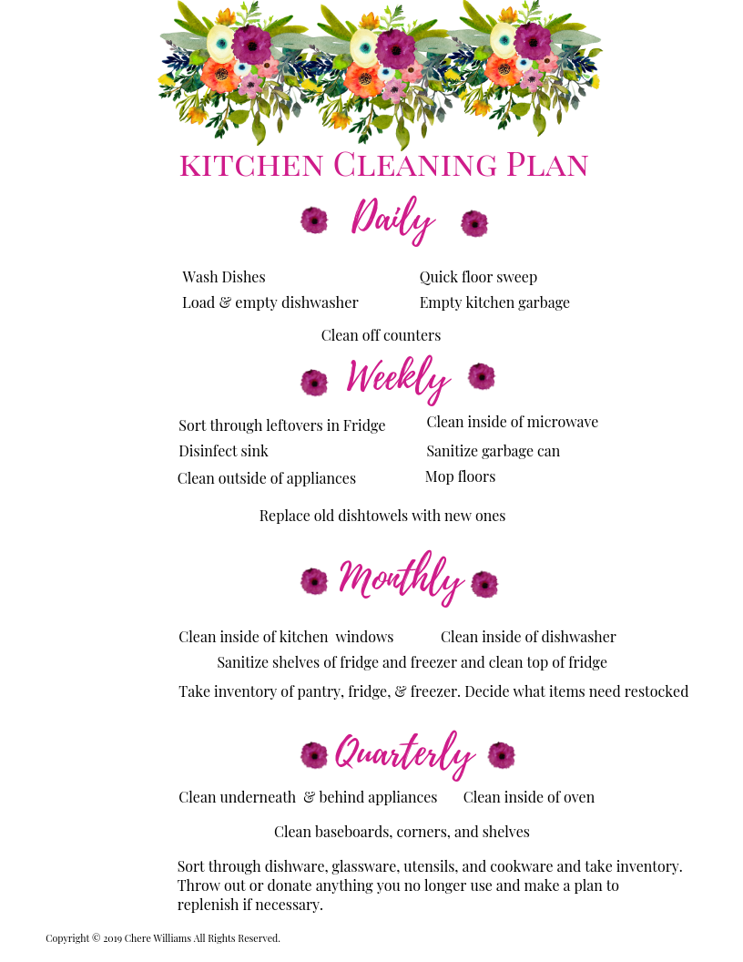 Kitchen Cleaning Plan Bursting Blooms Collection