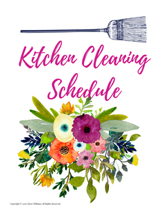 Kitchen Cleaning Schedule Divider Bursting Blooms Collection