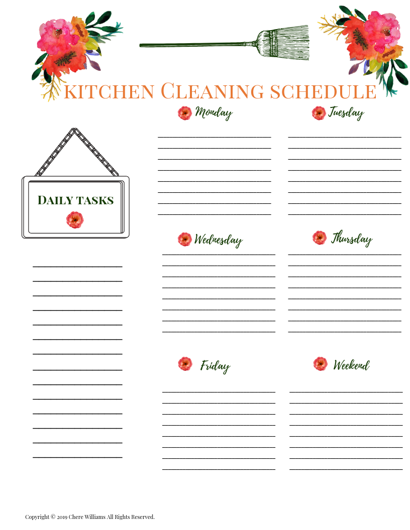 Kitchen Clean Schedule Orange Blossom Collection