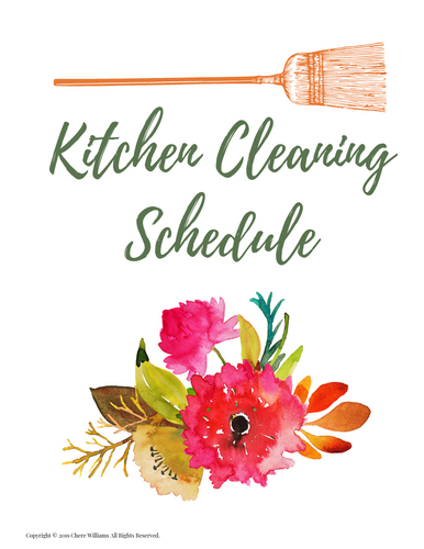 Kitchen Cleaning Schedule Divider Orange Blossom Collection