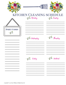 Kitchen Cleaning Schedule Bursting Blooms Collection