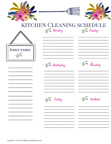 Kitchen Clean Schedule Printable for Moms Floral Collection