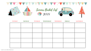 Summer Bucket Monthly Calendar Fun Kid Version