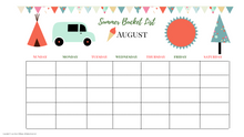 Load image into Gallery viewer, Summer Bucket Monthly Calendar Fun Kid Version