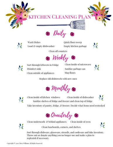 Kitchen Cleaning Plan Floral Collection Printable