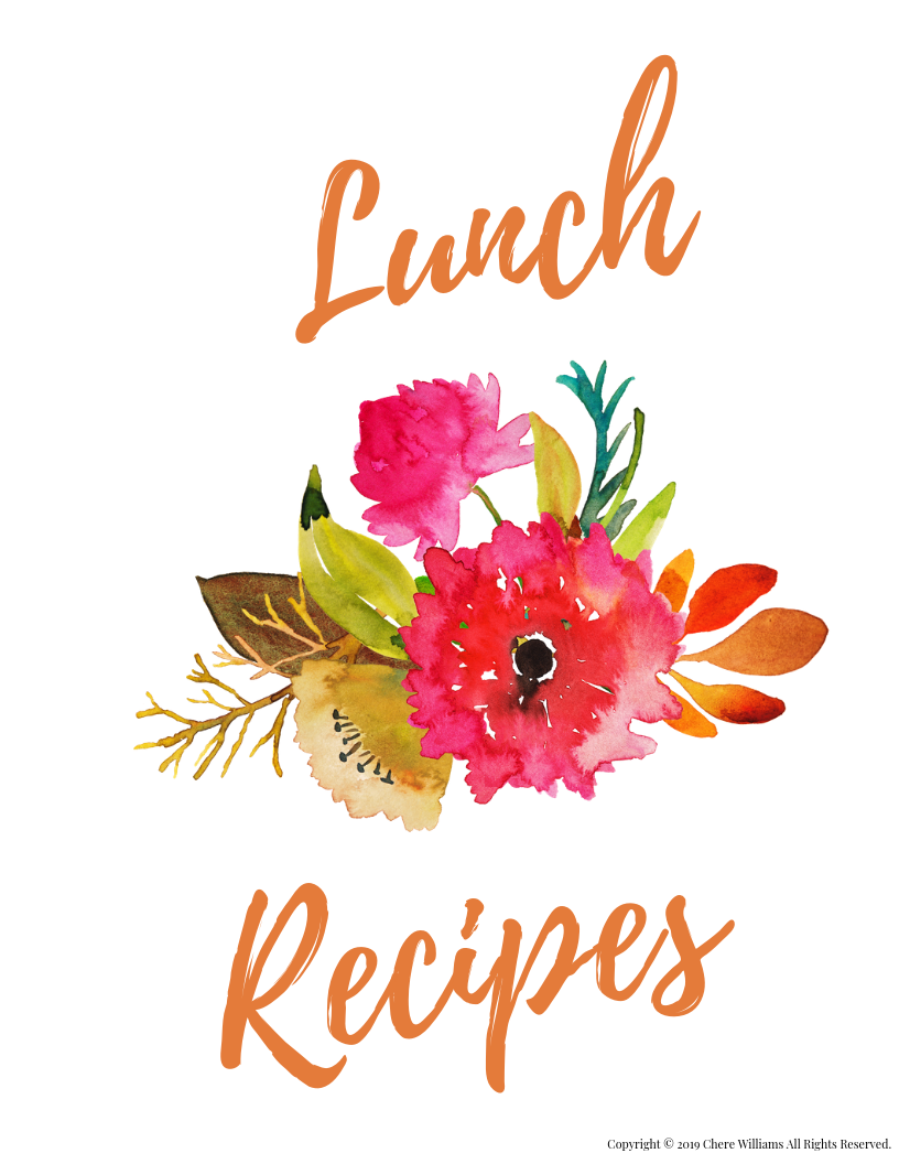 Lunch Recipe Divider for Kitchen Binder