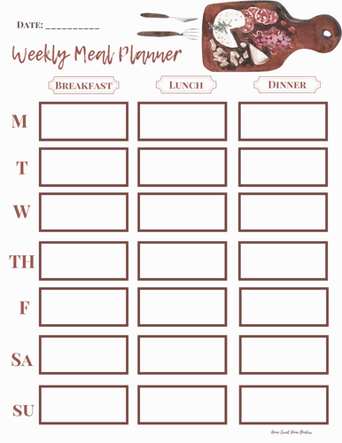 Weekly Meal Plan Cutting Board Design