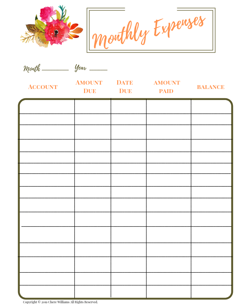 Monthly Expenses Budget Tracker Printable
