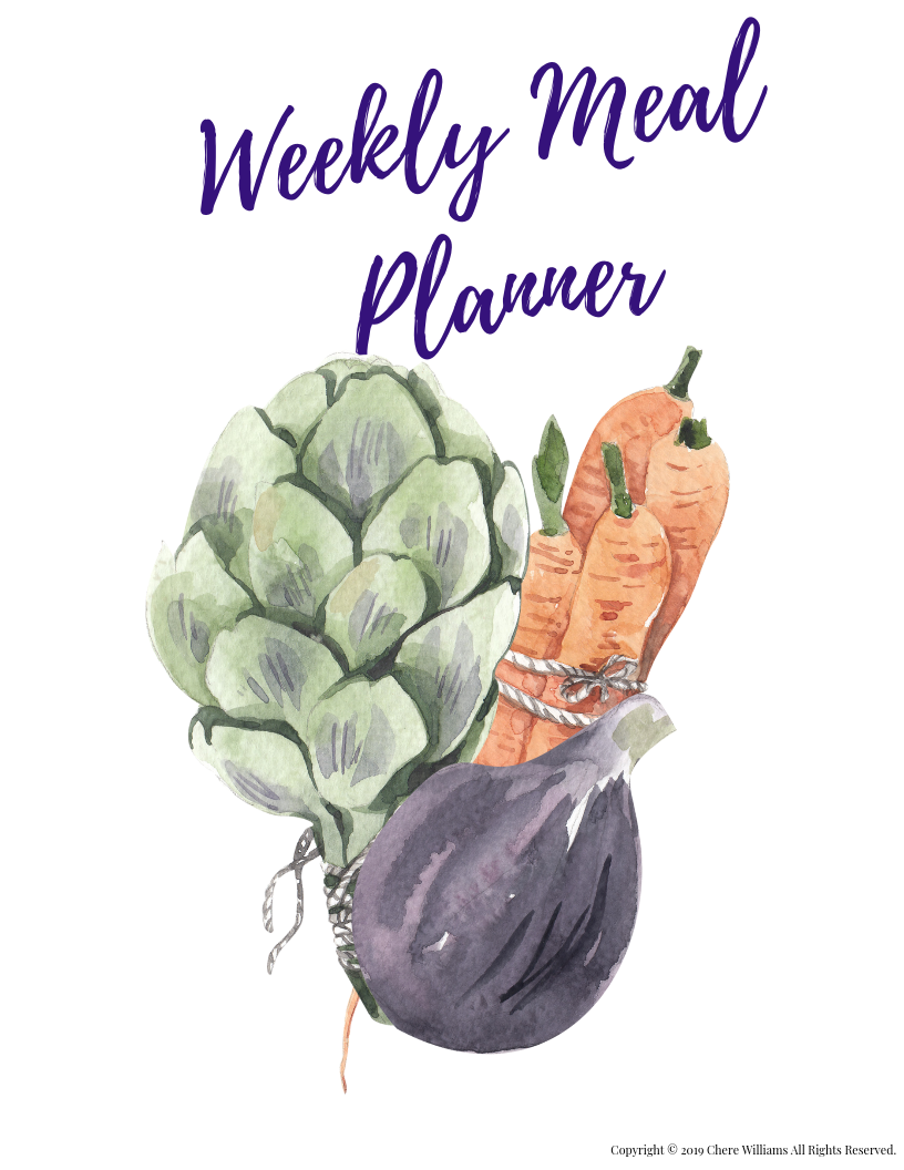 Weekly Meal Plan Divider Printable for Kitchen Binder Garden Collection