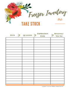 Freezer Inventory for Kitchen Binder Orange Blossom Collection