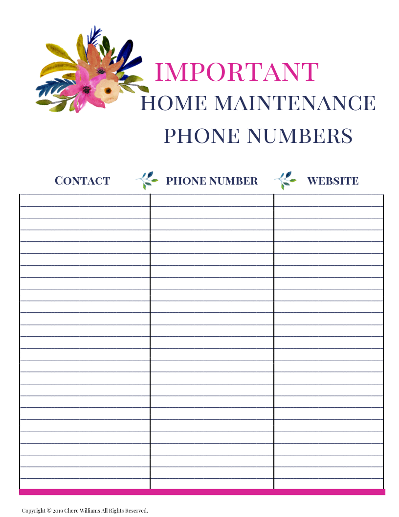 Home Maintenance Phone Number