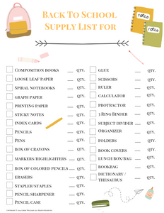 Back to School Supply Check List for Moms and Kids