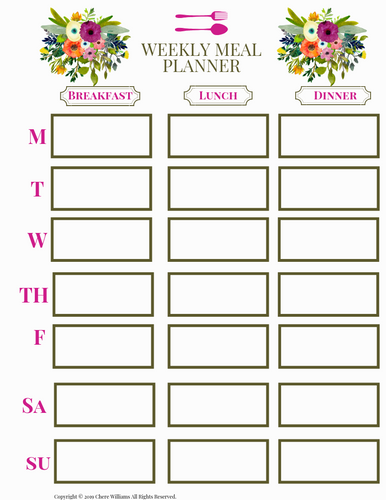 Weekly Meal Plan Bursting Blooms for Printable for Moms