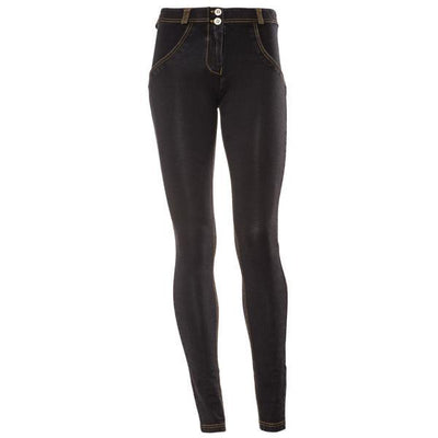 Freddy WR.UP® Denim Regular Rise Skinny - Black Rinse + Yellow Stitching