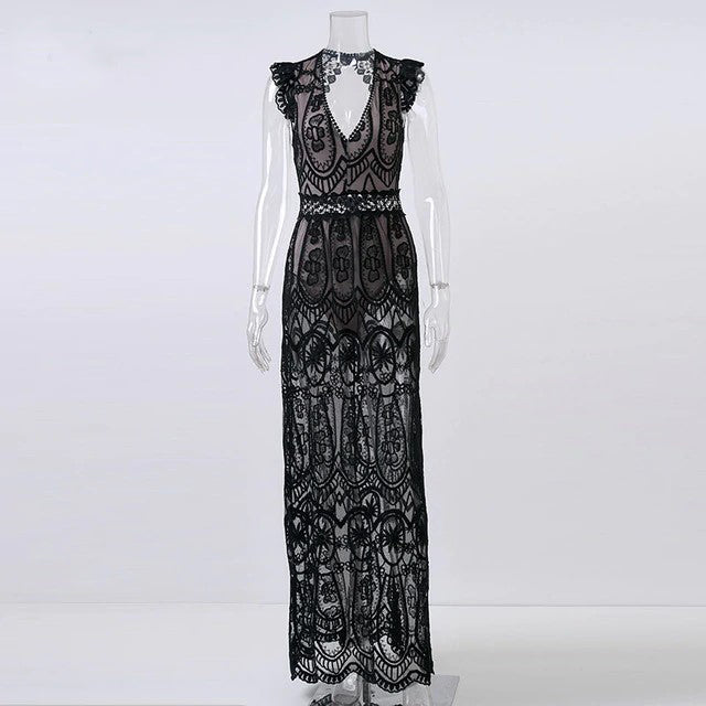 Isabella Lace Open Back Maxi Dress - BohoSparkle.com