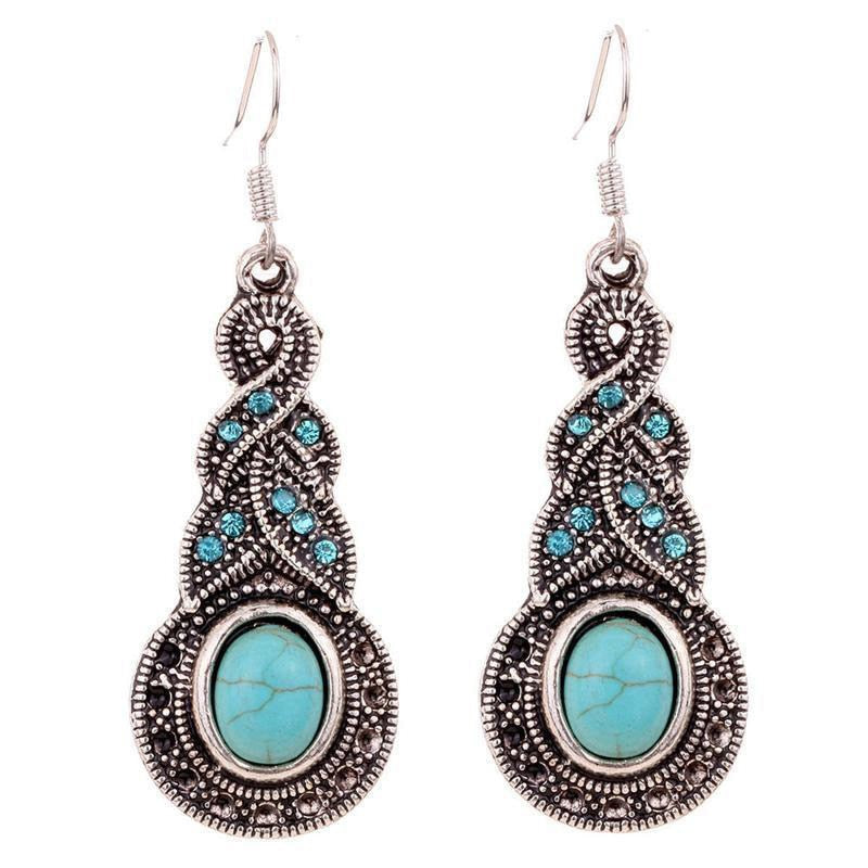 Isabel Turquoise Dangle Earrings - BohoSparkle.com