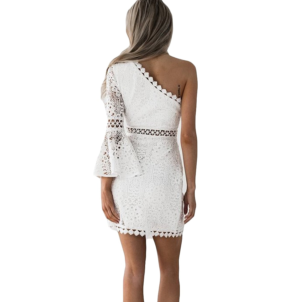 Diana One Shoulder Lace Dress - BohoSparkle.com