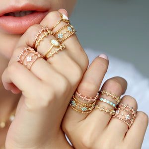Savannah Adjustable Turquoise Lace Band Rings Gold & Rose Gold - BohoSparkle.com