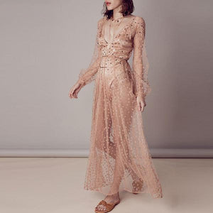 Athena Deep V Star Sequined Sheer Dress - BohoSparkle.com