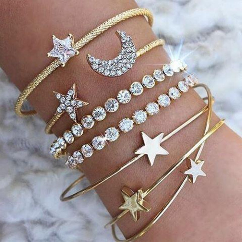 Aria Moon & Star Open Cuff Adjustable Bracelets Gold & Silver - BohoSparkle.com