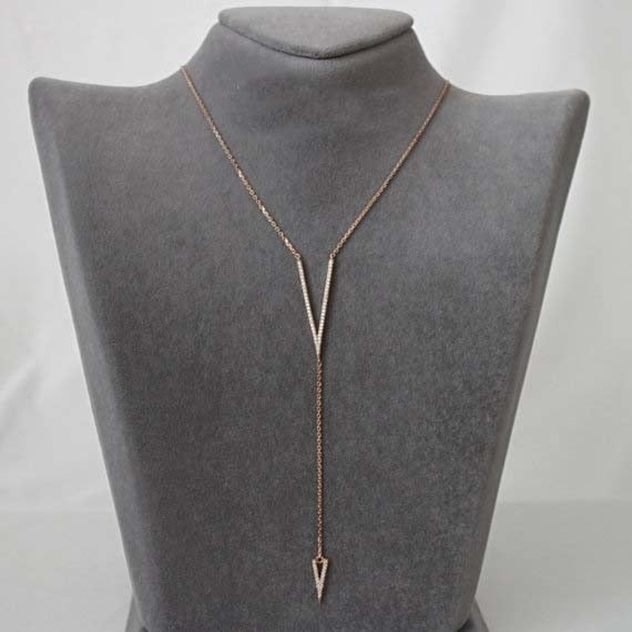 Mae Rose Gold Lariat Necklace - BohoSparkle.com