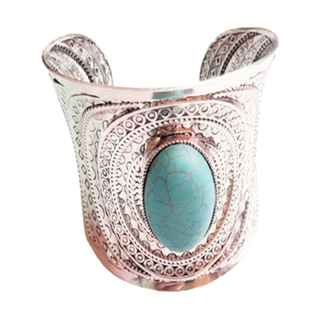 Hannah Wide Cuff Turquoise Bangle - BohoSparkle.com