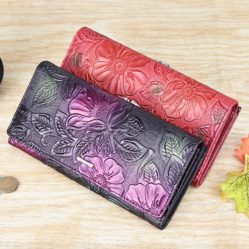Genuine Leather Floral Wallet - BohoSparkle.com